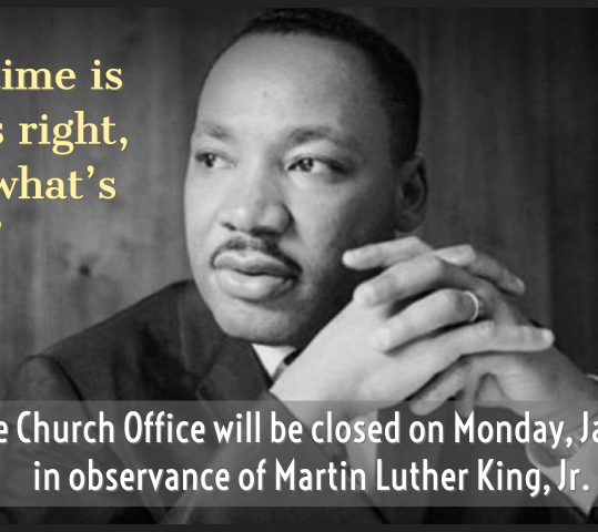 Church Office Closed Monday